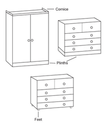 Wardrobe and chest of drawer cornice, feet and plinth locations